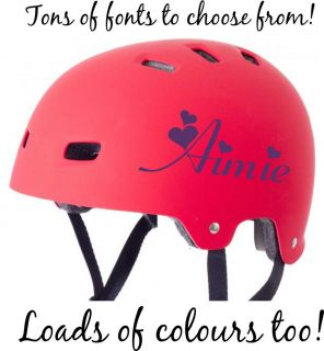 NAME CHILDRENS BMX Bike Scooter Skateboard Helmet Stickers