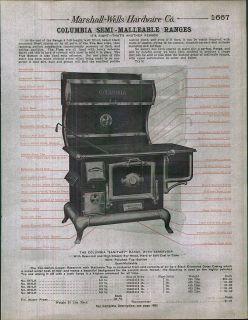 1912 AD Columbia Niagra Wood Coal Range Stove Oven Zenith Detail