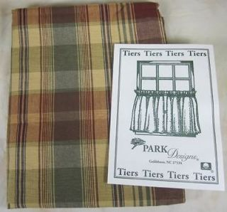 Country Burgundy Sage Tan Brown Plaid Saffron Curtain Tiers 72x24