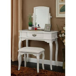 Elena Solid Wood Vanity Table Set White, from Brookstone