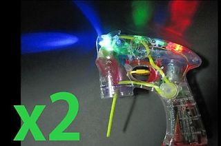 LOT of 2 LED Light Flashing Bubble Blaster Shooter Gun Blower w