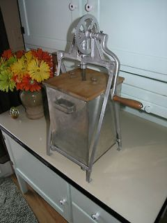 Great Looking Antique primitive butter churn hand crank metal tub wood