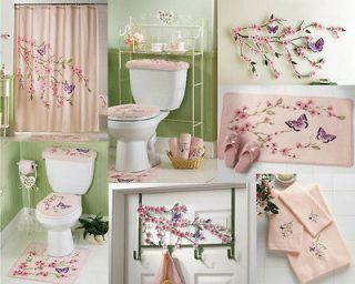 Pink Cherry Blossom Flowers Purple Garden Butterfly Bathroom Decor