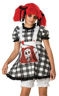 Tween Goth Raggedy Rag Doll Anne Girl Halloween Costume