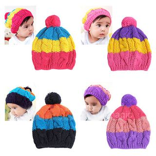Cute Baby Child Kids Girls Boy Flossy Stretchy Warm Winter Cap Hat