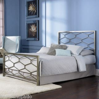 New Camden Golden Frost Queen Size Metal Bed with Optional Bed Frame