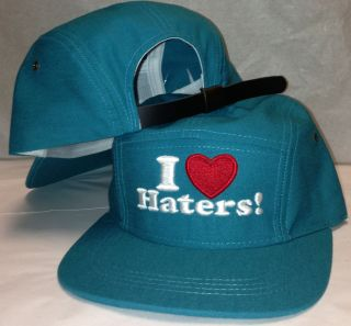 LOVE HATERS 5 Panel Cadet Aqua Teal Turquoise Hat Leather Strap