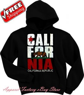 New Mens CALIFORNIA REPUBLIC BEAR Black Hoodie pullover sweatshirt