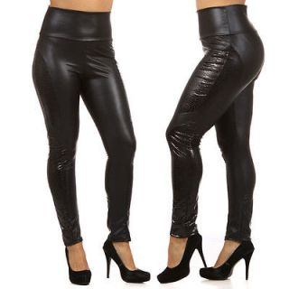 PLUS High Waist Black Liquid Snake Animal Leggings Panel Insert Pants