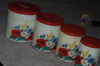 Set of 4 Tins Cannisters Metal Dry Goods Food Storage Flower Decor