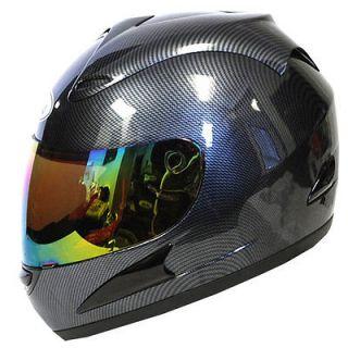Adult Full Face Helmet Glossy Carbon Fiber Black Size S M L XL