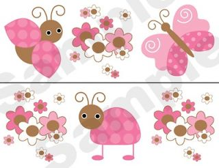 BROWN BUTTERFLY BABY GIRL NURSERY KIDS ROOM WALL BORDER DECALS DECOR