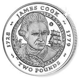 SOUTH GEORGIA & S. SANDWICH 2 POUNDS 2007 GREAT BRITONS   JAMES COOK