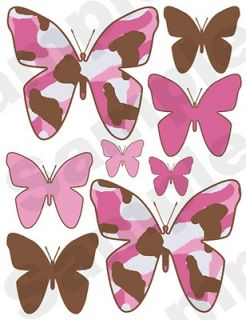 32 PINK BROWN CAMO BUTTERFLY BUTTERFLIES BABY GIRL NURSERY WALL