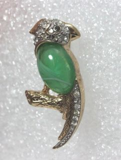 Vintage Gold Tone Rhinestone & Jelly Belly Parrot Pin by Carolee