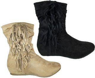 Women Flat Ankle Boots Black Beige Camel Suede Side Fringe CANDIES 77A