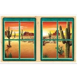 MEXICAN DESERT SUNSET WESTERN WINDOW INSTA VIEW SCENE SETTER PARTY