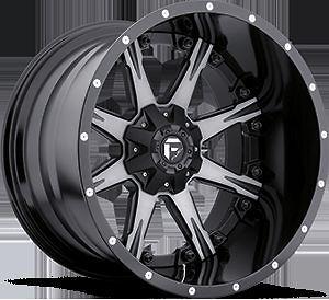 Offroad 2Piece NUTZ Black & Machined RIMS TRUCK WHEELS & FALKEN TIRES