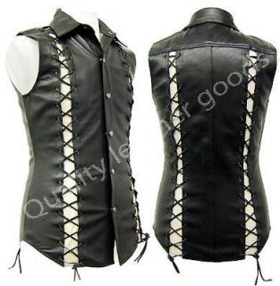 QLG Mens Genuine Leather Shirt With Lacing Biker Vest Motorcycle Club