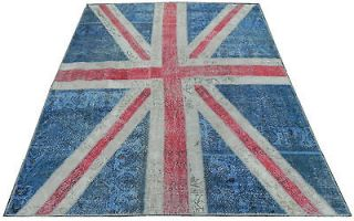 British Union Jack Flag PATCHWORK RUG Made frm OVERDYED Vintage