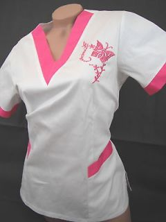 New Women Nursing Scrubs Pink Butterfly White Poly/Cotton Top Size XL