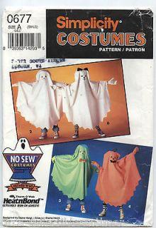 SIMPLICITY 0677 Childs No Sew Costume Pattern Ghost Pumpkin Dog Devil