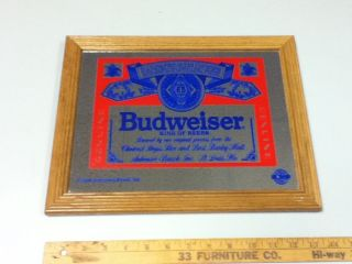 BEER SIGN MIRROR WOOD ANHEUSER BUSCH BREWERY TRADITIONAL LAGER