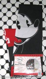 DISNEY Fabric Shower Curtain MICKEY MOUSE RED black CARTOON CHARACTERS