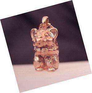 Rose Gold Plated 3D Teddy bear hamster charm Pendant