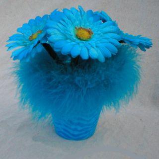 Blue Zebra Feather Flower Arrangement Flower Pen Pot Mothers Day Gift