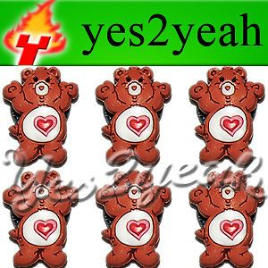 6X Tenderheart Care Bear Shoe Charms Fits Jibbitz 1644