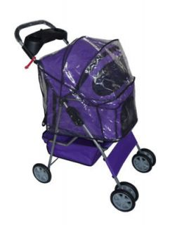 Purple 4 Wheels Pet Dog Cat Stroller w/Rain Cover