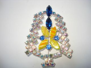 Multi~Color Prong Set AB Rhinestone Faceted Glass Christmas Tree Pin