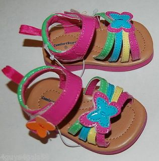 Rainbow Butterfly OPEN TOE SANDALS Toddler Girls Size 3 FADED GLORY