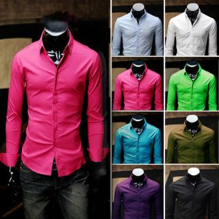 Luxury Slim Fit Stylish Dress Casual Shirts Tee Tops r21 8Color 4size