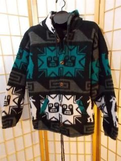 Tejidos Imalaya Wool Native Button up Sweater Jacket Hood L XL Womens