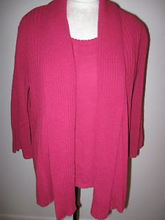 Sold on )~Berry Pink Ribbed Cascade Cardigan Set~Size MEDIUM~NWT
