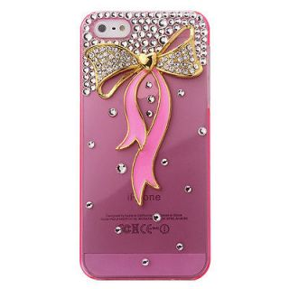 Crystal Rhinestone Gold Pink Bow Diamond Case Cover For Iphone 5 4/4S