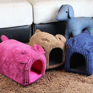 Pretty Pig shaped Pet Dog Cat House Bed Kennel Brown Pink Blue XS
