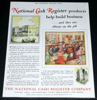 PRINT AD, NATIONAL CASH REGISTER PRODUCTS NCR, DEPT STORE ART