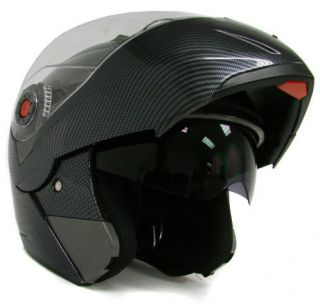 CARBON FIBER MODULAR FLIP UP DUAL VISOR SUN SHIELD MOTORCYCLE HELMET