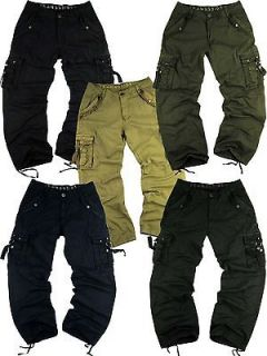 MENS CARGO PANTS IN MILITARY STYLE HEAVY CANVAS SIZES 32 44 #A805