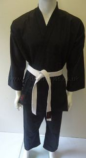 SKT Black 8oz Karate Suit Gi 100% Cotton Kids Children Sizes + Free