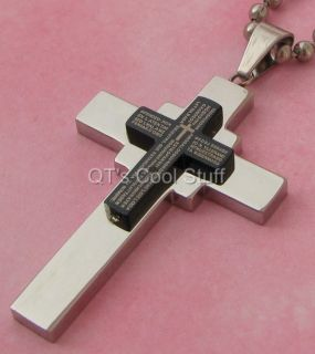 LORDS PRAYER CROSS STAINLESS STEEL BALL CHAIN NECKLACE