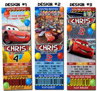 Cars Disney Ticket Birthday Party Invitations Speedway