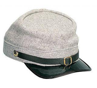 GREY CONFEDERATE ARMY CIVIL WAR KEPI ADJUSTABLE WOOL BLEND HAT