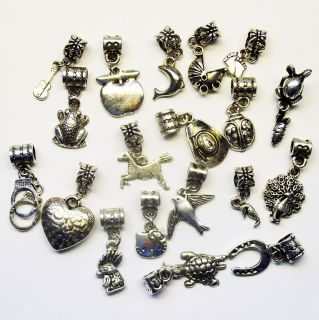 Tibetan Silver Dangle Bead Charms Horse Peacock Cowboy Hat Guitar Pram
