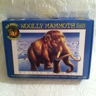 2000 Ceaco Woolly Mammoth Floor Puzzle Glow In Dark Skeleton 3 X 2