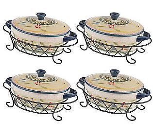 Temp tations Old World Set of 4 Mini Oval Covered Casseroles