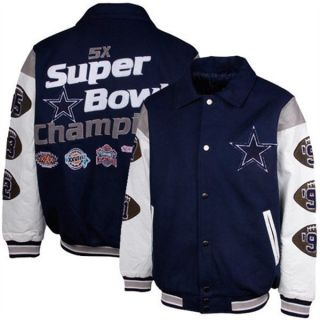 Dallas Cowboys 5 Time Superbowl Champ Wool Leather Varsity Jacket By